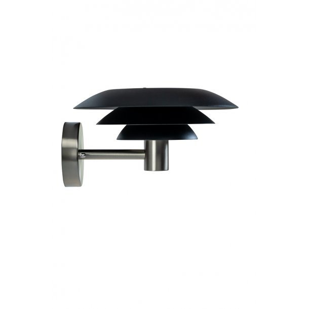 DL25 Outdoor wall lamp, black and steel